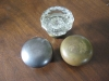 Brushed Metal and Glass Knobs